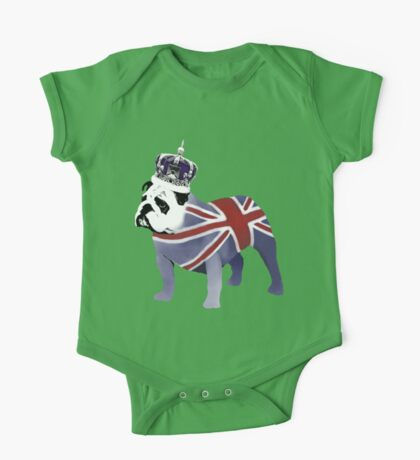 English Bulldog and Crown One Piece - Short Sleeve