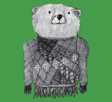 Bear Illustration  One Piece - Short Sleeve