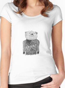 Bear Illustration  Women's Fitted Scoop T-Shirt