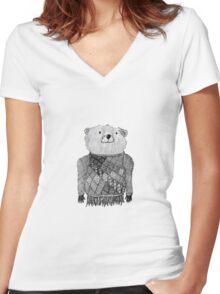 Bear Illustration  Women's Fitted V-Neck T-Shirt