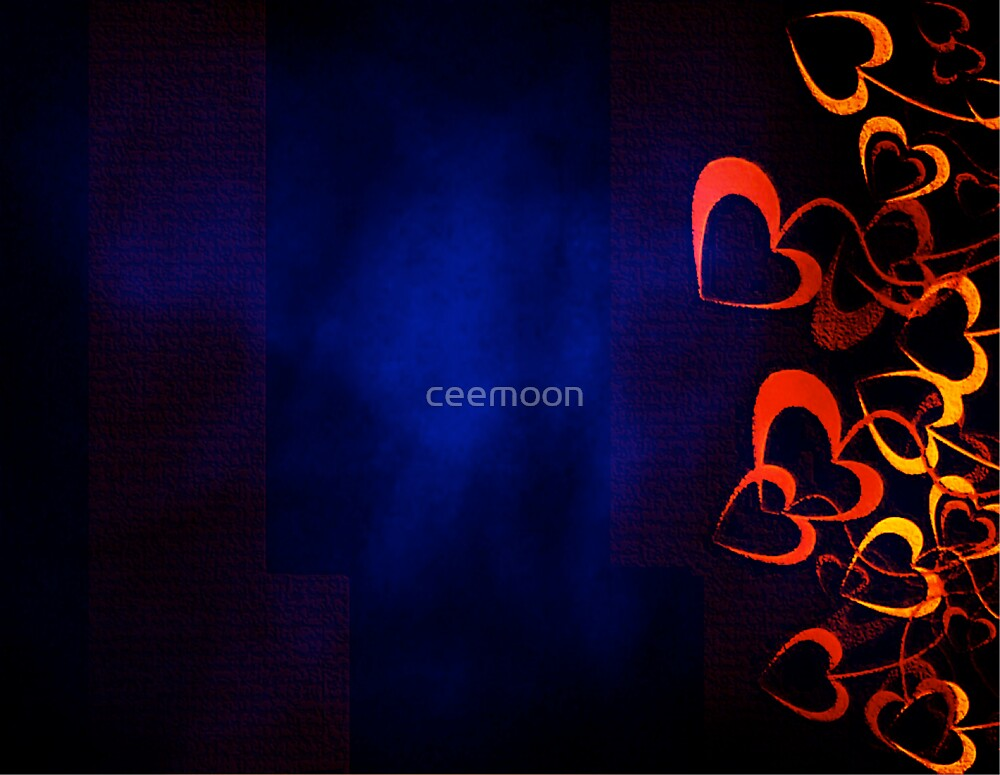 Orange Hearts with Blue Background by ceemoon