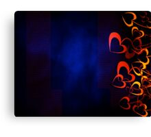 Orange Hearts with Blue Background Canvas Print
