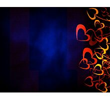 Orange Hearts with Blue Background Photographic Print