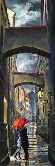 Prague Old Street Love Story by Yuriy Shevchuk