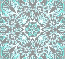 Teal and Aqua Lace Mandala on Grey Sticker