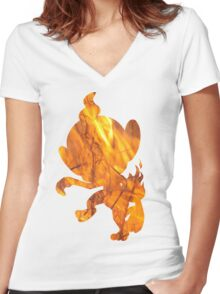 Chimchar used Flame Wheel Women's Fitted V-Neck T-Shirt
