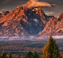 Veiled Tetons - Sunrise in Grand Teton National Park by Mark Kiver
