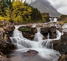 Swiftcurrent Falls in Autumn by Mark Kiver