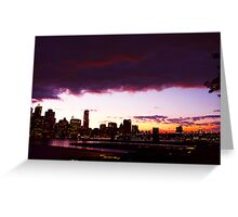 PURPLE SKIES SHOWCASE THE BROOKLYN BRIDGE MASTERPIECE Greeting Card