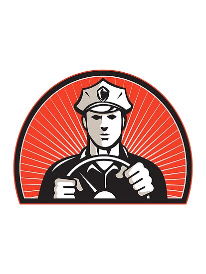 Policeman Driver Driving Steering Wheel by retrovectors