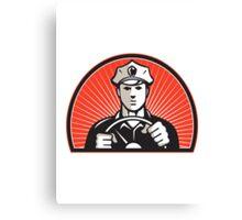 Policeman Driver Driving Steering Wheel Canvas Print