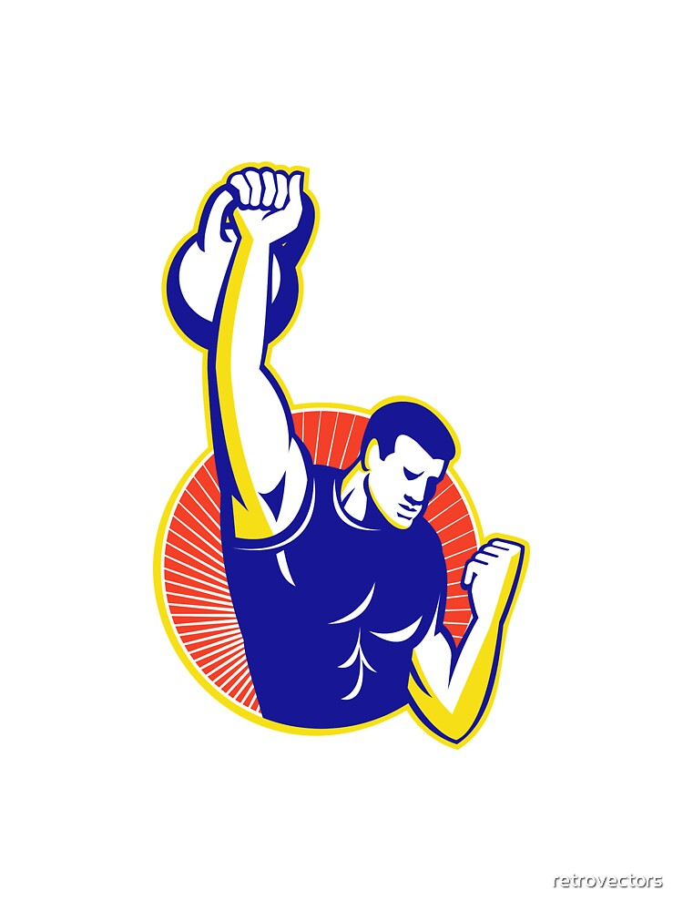 Strongman Lifting Kettlebell Weight Retro by retrovectors
