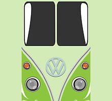 VW Minibus Camper Volkswagen Green Mini Van iPhone Case by metroemporium