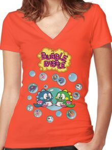 Bubble Bobble Women's Fitted V-Neck T-Shirt