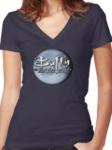 Buffy logo Women's Fitted V-Neck T-Shirt