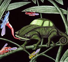 Bug the Bug killer surreal pen ink and colored pencils drawing by Vitaliy Gonikman