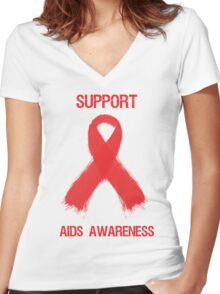 Support Aids Awareness Red Ribbon Women's Fitted V-Neck T-Shirt