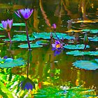 Colorful waters colored flowers by raymona pooler