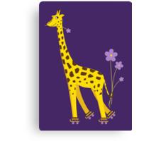 Funny Giraffe Roller Skating Canvas Print