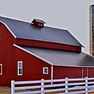 White fenced Red barn by Luann wilslef