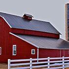 White fenced Red barn by Luann wilslef