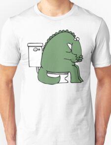 Funny Dinosaur on Toilet Unisex T-Shirt