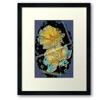 Diamond studded yellow roses Framed Print