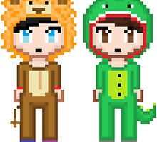 Dan and Phil Pixel People  by c7ybaby