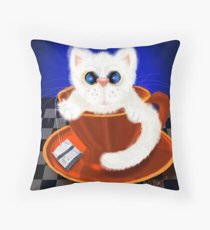 Fluffy, Puffy Snow Ball Kitty (First of the PuffyButtons Series) Throw Pillow