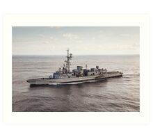 Old French Navy Destroyer Art Print