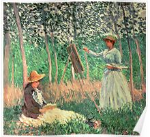 In the Woods at Giverny: Blanche Hoschede at her easel with Suzanne Hoschede reading, 1887  Poster