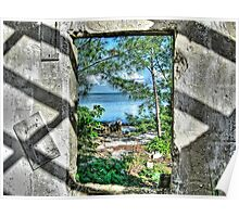 Paradise View Through The Window in North Andros Island, The Bahamas Poster
