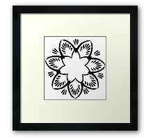 Simplistic and floral (Black and white~) Framed Print