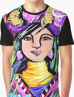 Pretty Flower Girl Abstract Art Graphic T-Shirt