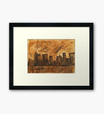 New York Sky Line Created With Tea Framed Print