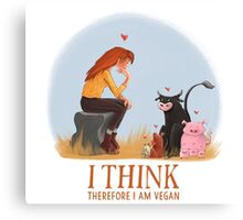 I think therefore I am vegan Canvas Print
