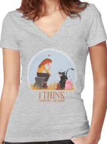 I think therefore I am vegan Women's Fitted V-Neck T-Shirt
