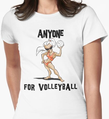 """VolleyBall """"Anyone For Volleyball?"""" Womens Fitted T-Shirt"""
