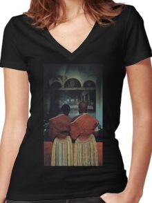 Last Supper Women's Fitted V-Neck T-Shirt