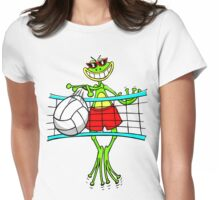 Funny Volleyball Frog Womens Fitted T-Shirt