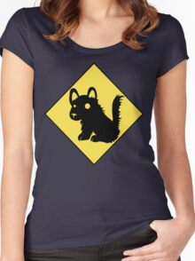 Beware Of Puppy Stare Women's Fitted Scoop T-Shirt
