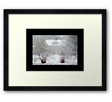 Little Blue House In Blizzard - Middle Island, New York Framed Print