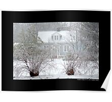 Little Blue House In Blizzard - Middle Island, New York Poster