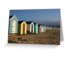 View of the beach huts at Southwold Greeting Card