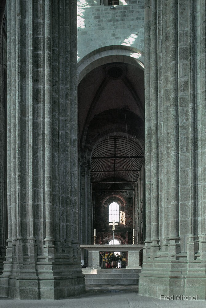 Nave through ambulatory apse pillars behind altar church Mont St Michel 19840220 0030 by Fred Mitchell