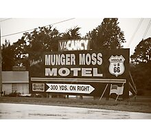 Route 66 - Munger Moss Motel Sign Photographic Print
