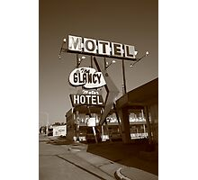 Route 66 - Glancy Motel Photographic Print