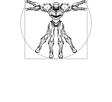 Vitruvian Metroid [Black on White] by TitanVex
