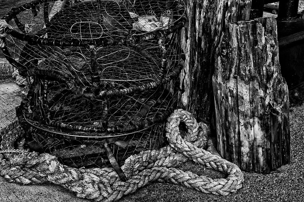 Old Crab Pots in Black and White by Mark Kiver