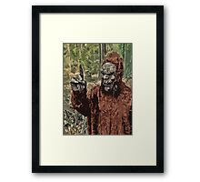 Sasquatch measuring wind Speed and Direction Framed Print